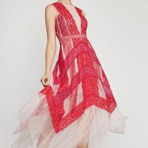 BCBG Floral Lace Handkerchief Dress Size 4 Pink